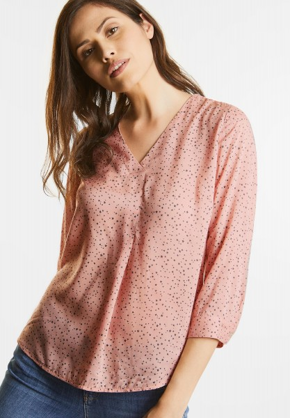 Street One - Weite V-Neck Printbluse in Studio Rose