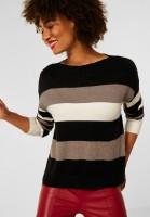 Street One - Streifen Pullover in Black