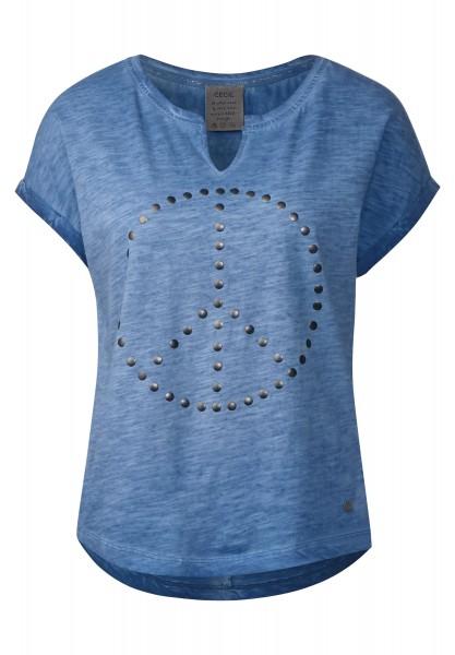 CECIL - Shirt mit Peacezeichen in Cobalt Blue
