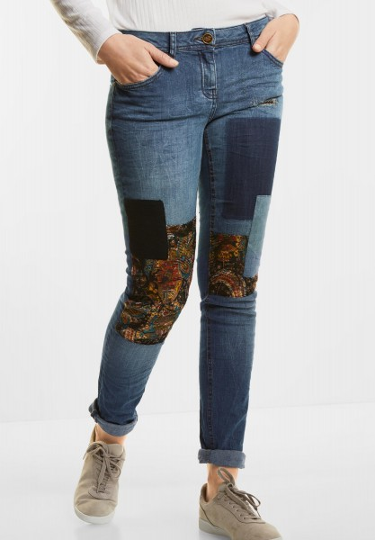 CECIL - Denim mit Patches Scarlett in Mid Blue Used Wash