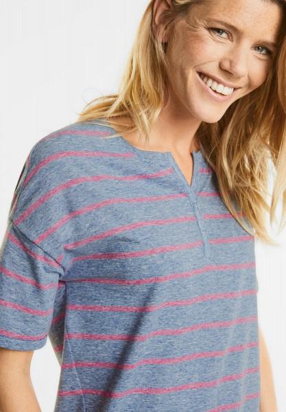 CECIL - Melange Streifenshirt in Deep Blue Melange