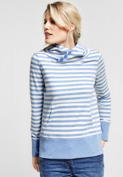 CECIL - Sweat Pullover mit Streifen in Powder Blue Melange