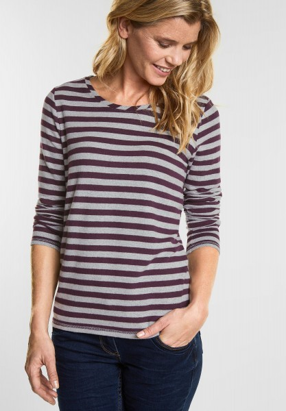 CECIL Cosy Streifen Shirt in Deep Berry