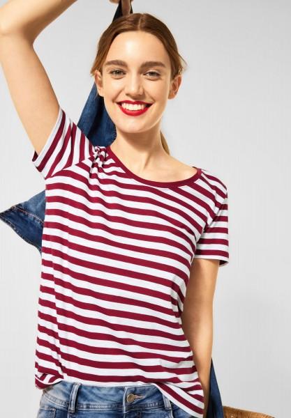 Street One - T-Shirt im Streifen Muster in Gentle Red