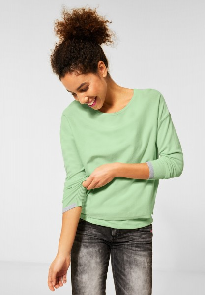 Street One - Pullover mit Colourblock in Frosted Pistachio