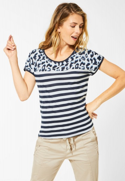CECIL - T-Shirt mit Mustermix in Pure Off White