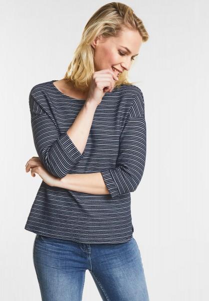 CECIL Sweatshirt mit Streifen in Deep Blue