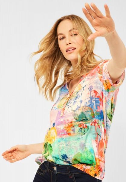 CECIL - Bluse mit Print in Fresh Coral