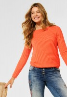 CECIL - Shirt mit Streifen Muster in Smoked Paprika Orange