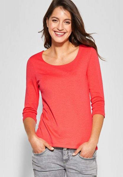 Street One - Schmales Basic Shirt Pania in Bright Coral