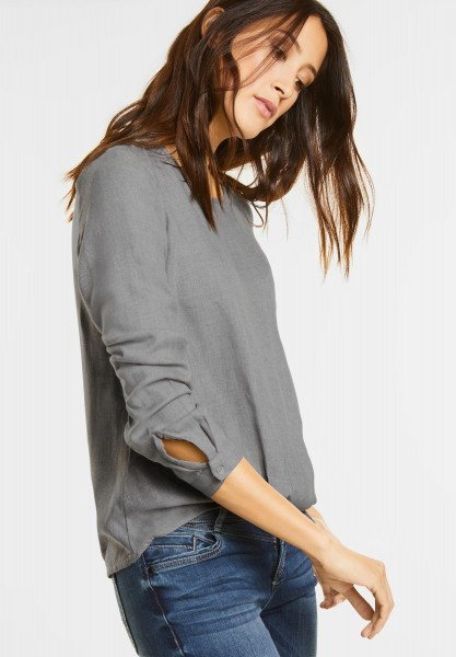 Street One - Melange Bluse mit Faltensaum in Cyber Grey Melange