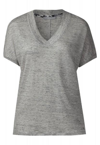 CECIL - Leinenshirt mit V-Ausschnitt in Silver Grey Melange