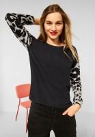 Street One - Shirt mit Animal Print in Anthracite Melange