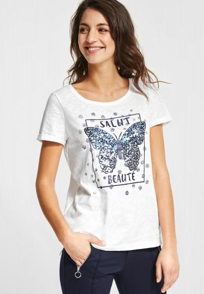 Street One - Shirt mit Pailletten-Print in Off White