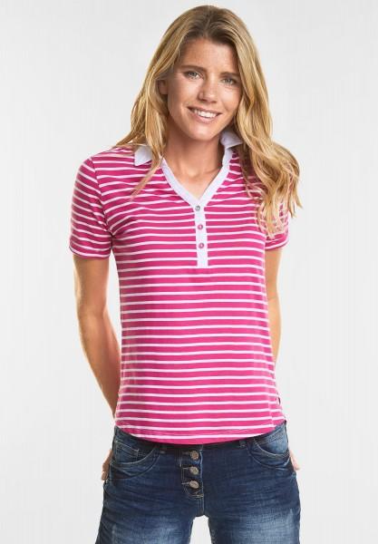 CECIL - Weiches Streifen Polo-Shirt in Galaxy Pink