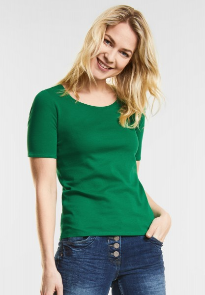 CECIL - Organic Halbarmshirt Lena in Clover Green