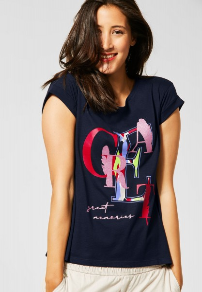 Street One - T-Shirt mit Print in Deep Blue