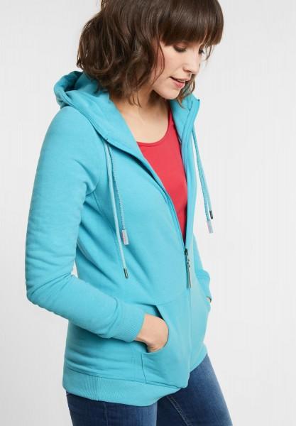 CECIL - Strickjacke im Hoodie-Style in Peppermint Blue Melange