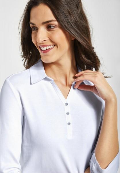 CECIL - Polo Shirt mit 3/4 Ärmeln in White