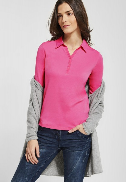 CECIL - Polo Shirt mit 3/4 Ärmeln in Bubblegum Pink