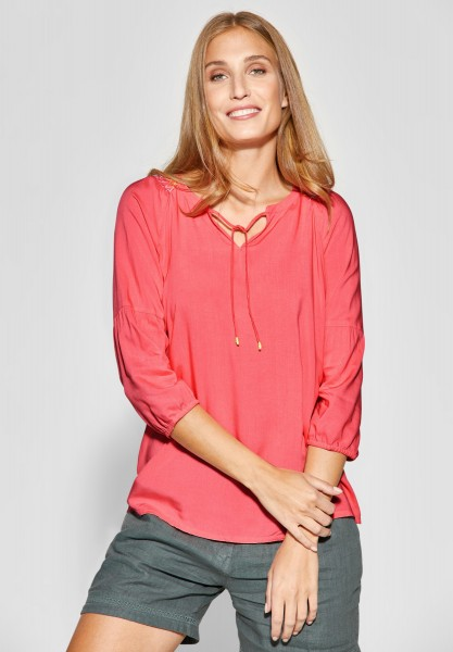 CECIL - Tunika Bluse mit Stickerei in Neo Coralline Red