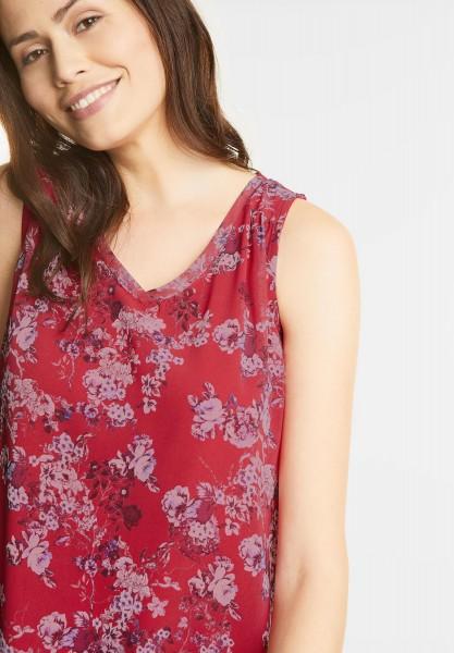 Street One - Blütenprint Chiffon Top in Big Red