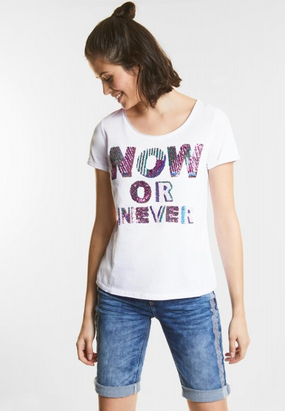 Street One - Pailletten-Print Shirt in White