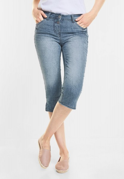 CECIL - Grafikprint Denim Charlize in Authentic Used Wash Mid Blue
