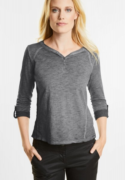 CECIL - Washed Look Longsleeve Xenia in Dark Silver