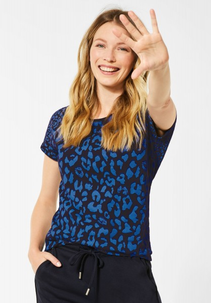 CECIL - T-Shirt mit Leo-Mustermix in Deep Blue