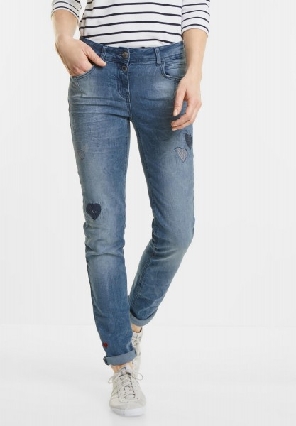 CECIL - Herz Denim Charlize in Mid Blue Used Wash
