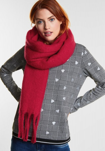 Street One - Cosy Schal mit Fransen in Pure Red