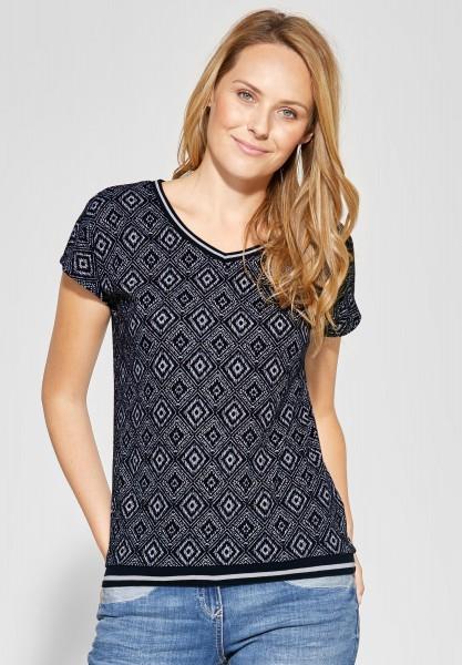 CECIL - Allover Print Shirt in Deep Blue