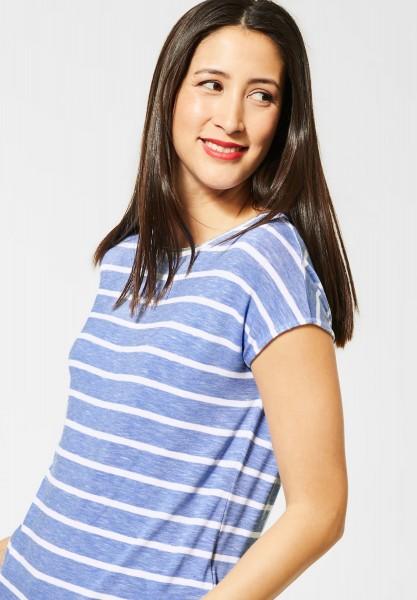 Street One - T-Shirt mit Streifen in Vapor Blue Melange