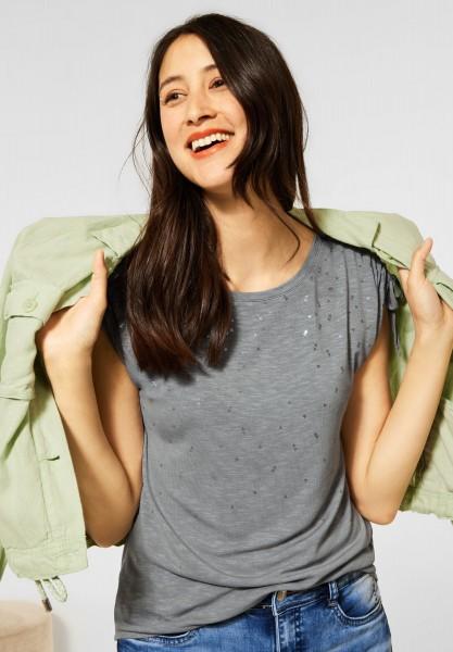 Street One - T-Shirt mit Folienprint in Light Shadow Green
