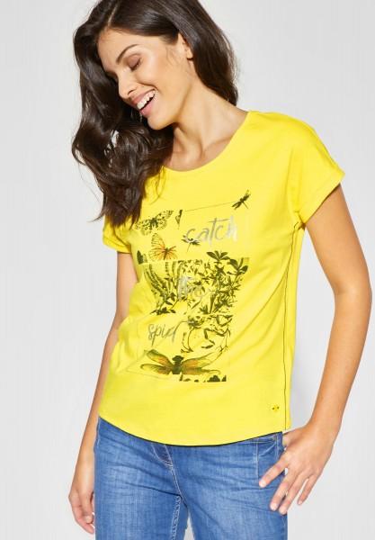 CECIL - Shirt mit Wording und Print in Lemon Drop