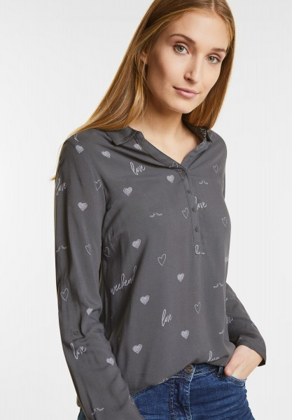 CECIL - Symbol Print Bluse in Graphit Light Grey