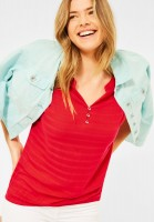 CECIL - T-Shirt im Materialmix in Poppy Red