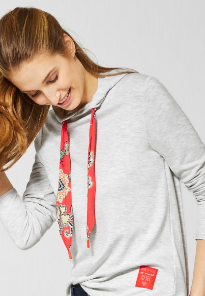 CECIL - Hoodie Shirt mit Paisley in Off White Melange
