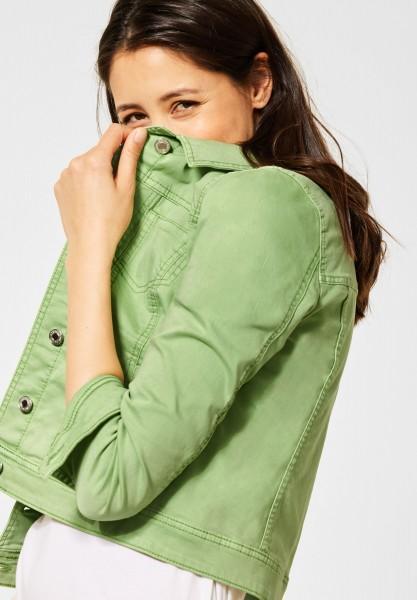 Street One - Kurze Indoor Jacke in Faded Green Soft Wash