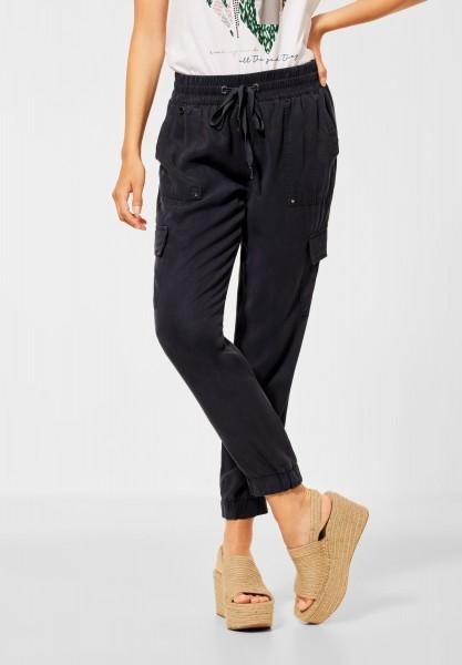 Street One - Loose Fit Hose im Cargo Stil in Black