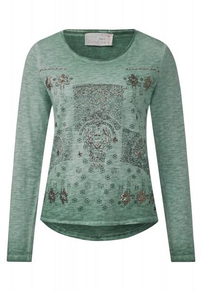 CECIL - Langarmshirt mit Boho Print Loden Frost Green