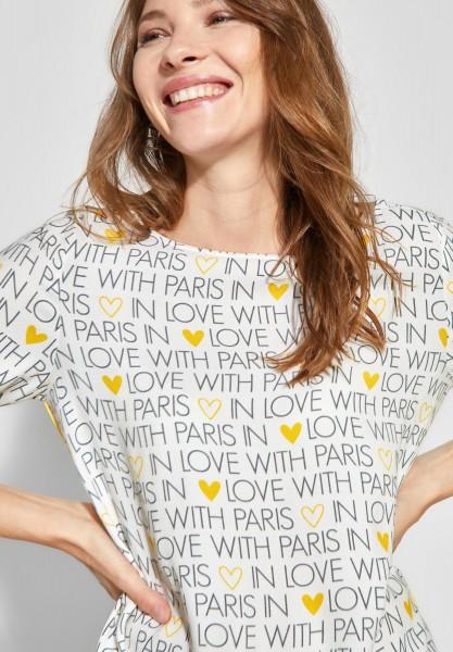 Street One - Print-Bluse mit Falten in Off White