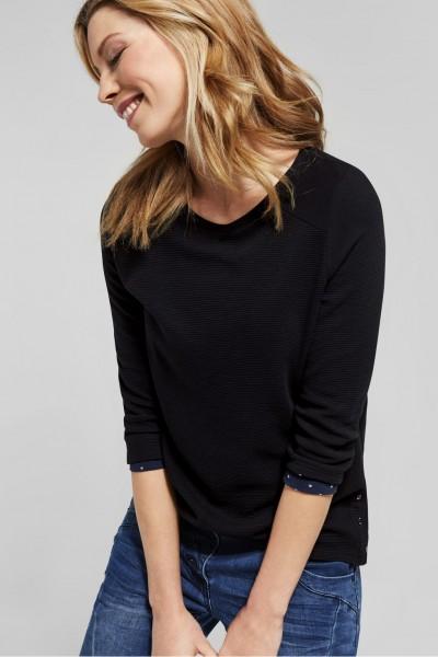 CECIL - Struktur Shirt Nila in Black