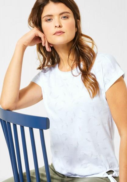 CECIL - T-Shirt mit Blättermuster in White