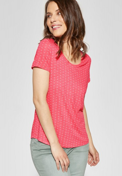 CECIL - Grafik-Print Shirt Naemi in Neo Coralline Red