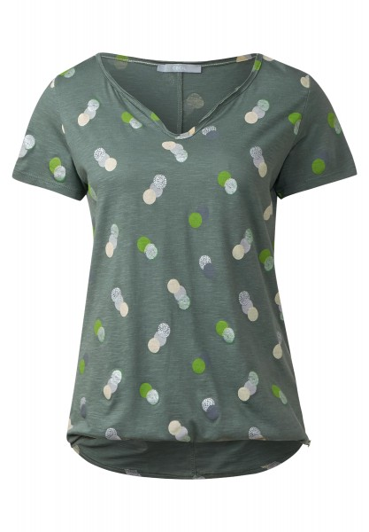 CECIL - Shirt mit Punkte-Print in Palm Green