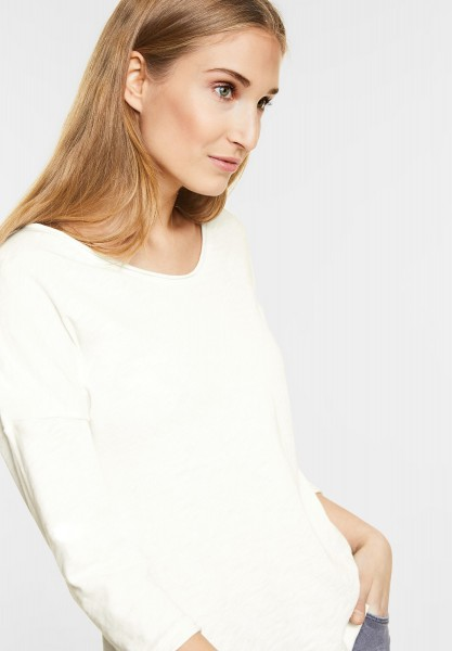 CECIL Sportliches 3/4-Arm Shirt in Pure Off White