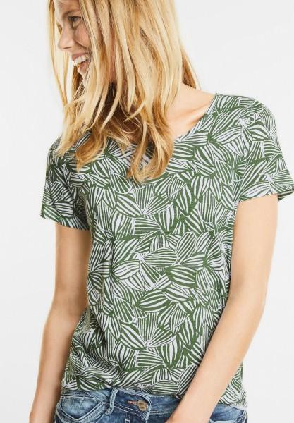 CECIL - Shirt mit Blätter Print in Matcha Tea Green