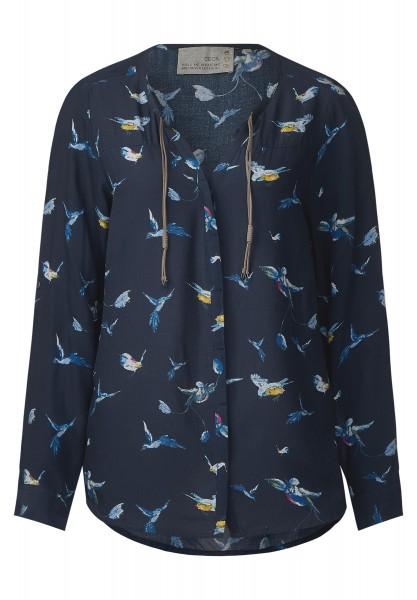 CECIL - Bluse mit Vogelprint in Deep Blue
